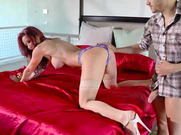 Tattooed redhead in blue panties Monique Alexander has sexy fun with baldie