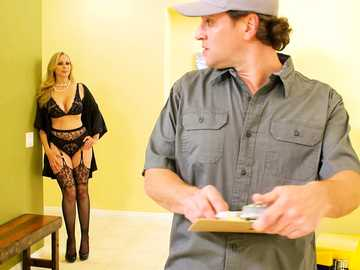 Julia Ann intends to pay for repair services with her mature cougar pussy