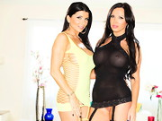 Thick-lipped Nikki Benz has an ass like twin basketballs; pretty Romi Rain's tats show ...