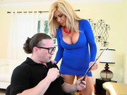 Milf in blue dress Parker Swayze sucks cock of her aroused employee