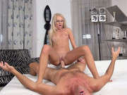 Enticing blonde Dora A puts her cunt on Rocco's face and rides his dong