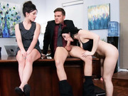 Hot lesbians Jennifer White and Noelle Easton are caught by their boss