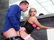 Leggy blonde Christen Courtney wants sex from busy director David Perry. In pink-and-black ...