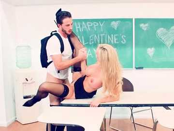 School teacher Brandi Love gets along with her student in the classroom