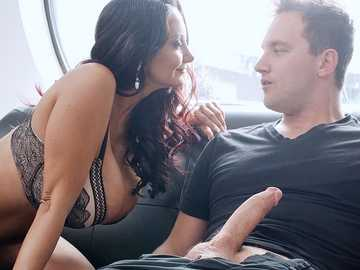Female underwear thief Van gets caught by naughty milf Ava Addams and gets dick sucked