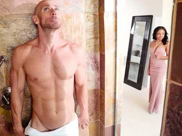 Naked Alice Coxxx and Johnny Sins hide in the shower room from his fiancée