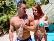 Janet Mason calls the pool guy over to clean her pool, but she's more interested in having ...