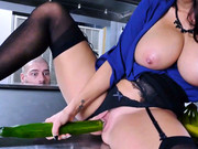 Food inspector Ava Addams drilling herself with a big cucumber