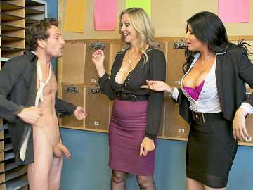 Busty MILFs Julia Ann and Romi Rain worship mailboy's meat in the office