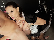 Brunette MILF Sensual Jane's heels, garters and French maid's uniform display a ...