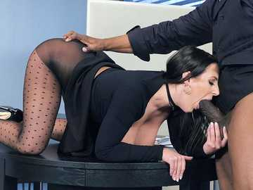 Business woman Angela White gives her client monthly deep blowjob