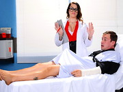 Jessy has been laid up in the hospital for weeks with two broken arms. Unable to jerk off, ...