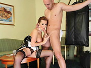 Hotel maid and slut at the same time; that's what we call a multi-talent. Busty Cindy ...