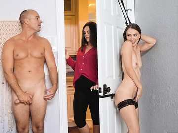 Petite pale-skinned Izzy Lush craves big dick of her stepsister's lover