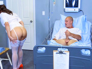 Patient fucks gorgeous brunette Lily Love wearing the sexy nurse uniform